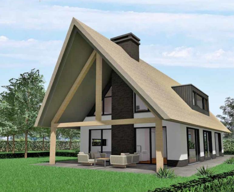 Schuurwoning met een rieten dak